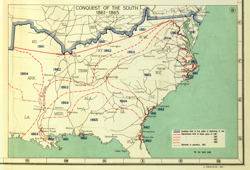 """Conquest of the South, 1861-1865 Here the Civil War is represented in stages, as popularized by Henry Lindenkohl and the U.S. Coast Survey in the """"Sketches of the Rebellion,"""" included above. (1932) 