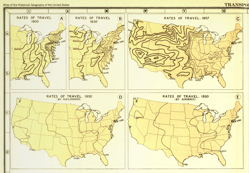 Transportation and Rates of Travel Here Charles Paullin represented advances in transportation technology in geographic terms in order to depict the qualitative changes over the course of American history. (1932) | Paullin, Charles Oscar, 1868 or 9-1944