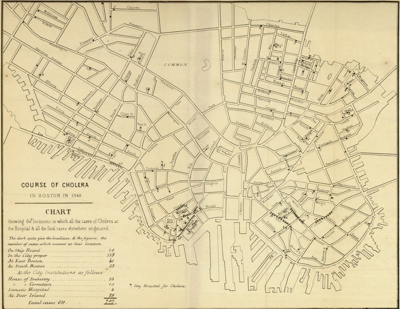 Course of Cholera in Boston in 1849 This is one of many examples of a map designed for etiological purposes, in this case to locate the source of the city's 1849 cholera epidemic. (1849) | Williams, Henry W. (Henry Willard), 1821-1895