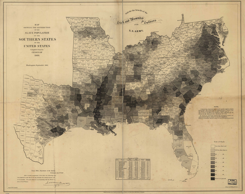Map Showing the Distribution of the Slave Population of the Southern States One of the first American attempts to translate the census into cartographic form, and a favorite of President Lincoln during the Civil War. (1861) | Hergesheimer, E. (Edwin)