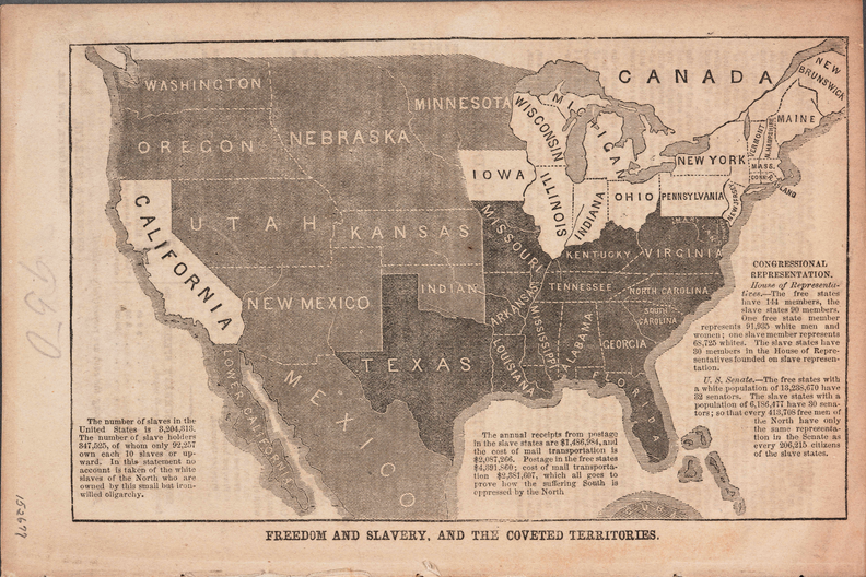 Freedom and Slavery, and the Coveted Territories Anti-slavery activist John Jay used this map to alert northerners to the threat of slavery in the west, and to promote the cause of the newly-founded Republican Party in the 1856 presidential election. (1856)