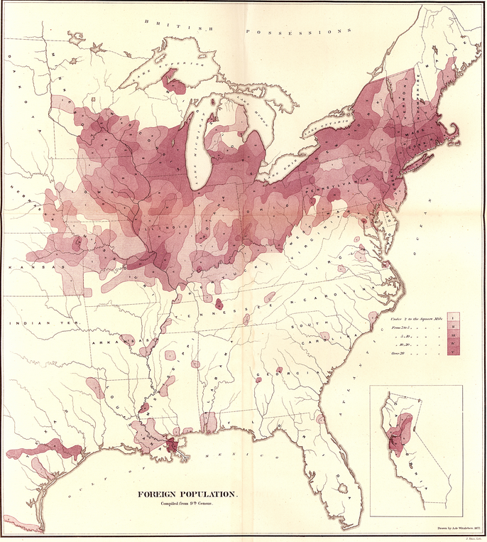 """Map of the """"Foreign Population"""" Compiled from the Ninth Census This was one of Walker's first attempts to map census data, and contemporaries noticed the stark comparison between it and the map of the """"colored population"""" from the same report. (1872) 