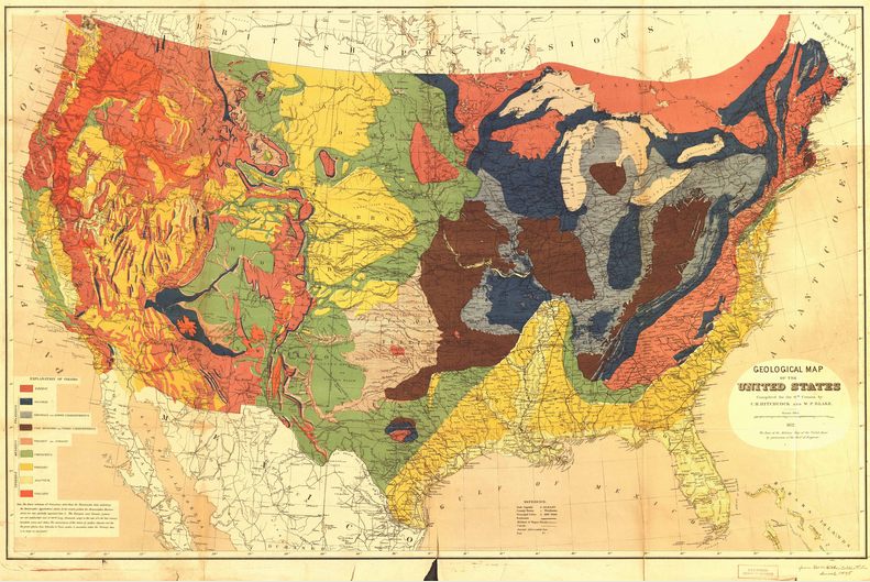 Geological Map of the United States This stunning map owed much to its antebellum maps of geology as well as the fine chromolithography of Julius Bien. (1872) | Hitchcock, Charles H. (Charles Henry), 1836-1919