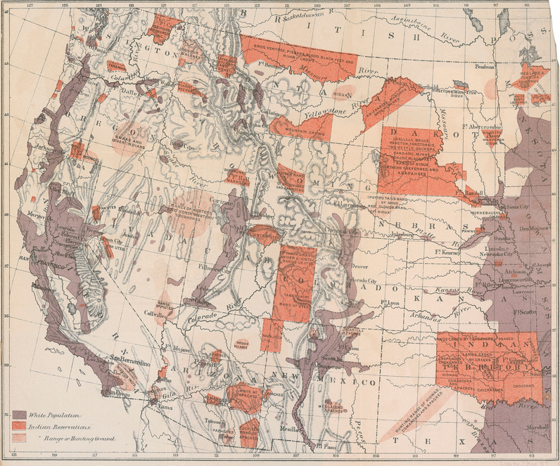 Map of Indian Population in the Western United States Walker served as Commissioner of the Indian Bureau while also Superintendent of the Ninth Census in the 1870s, and in both capacities relied on maps. (1874)