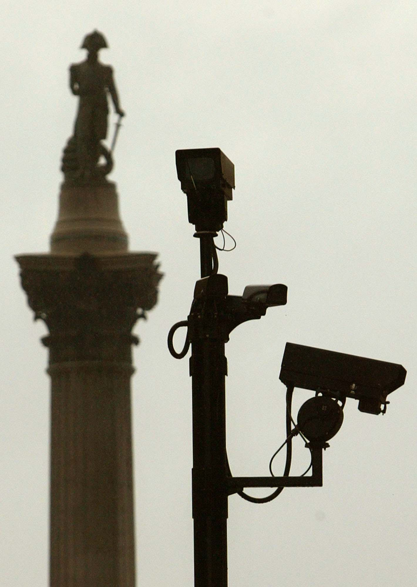 Security cameras survey London's Trafalgar Square.