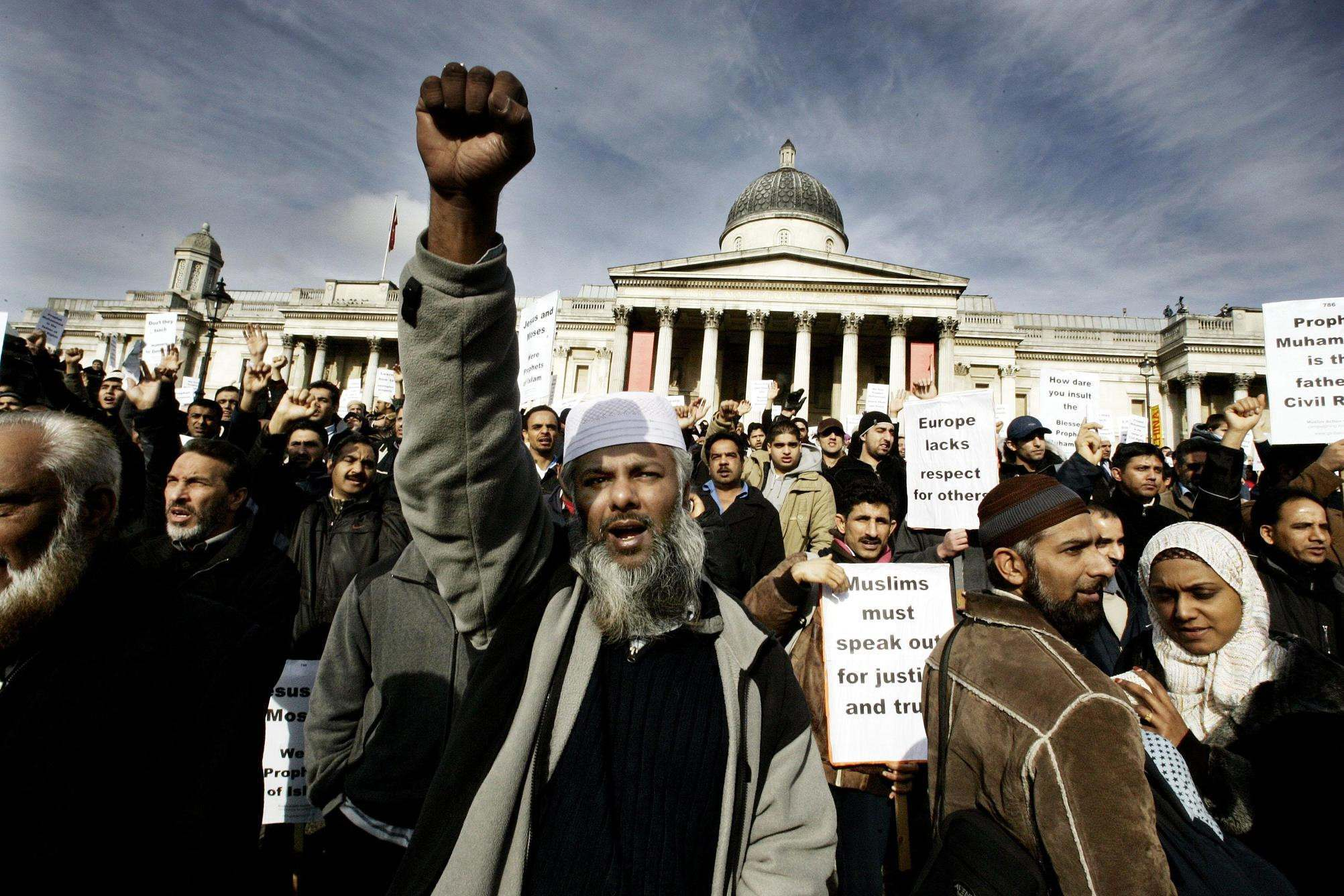 The Islamaphobia rally organised by a coalition of moderate Muslim groups including the Muslim Association of Britain, the UK Islamic Mission and the Islamic Society of Britain in Trafalgar Square, London, Saturday February 11, 2006.