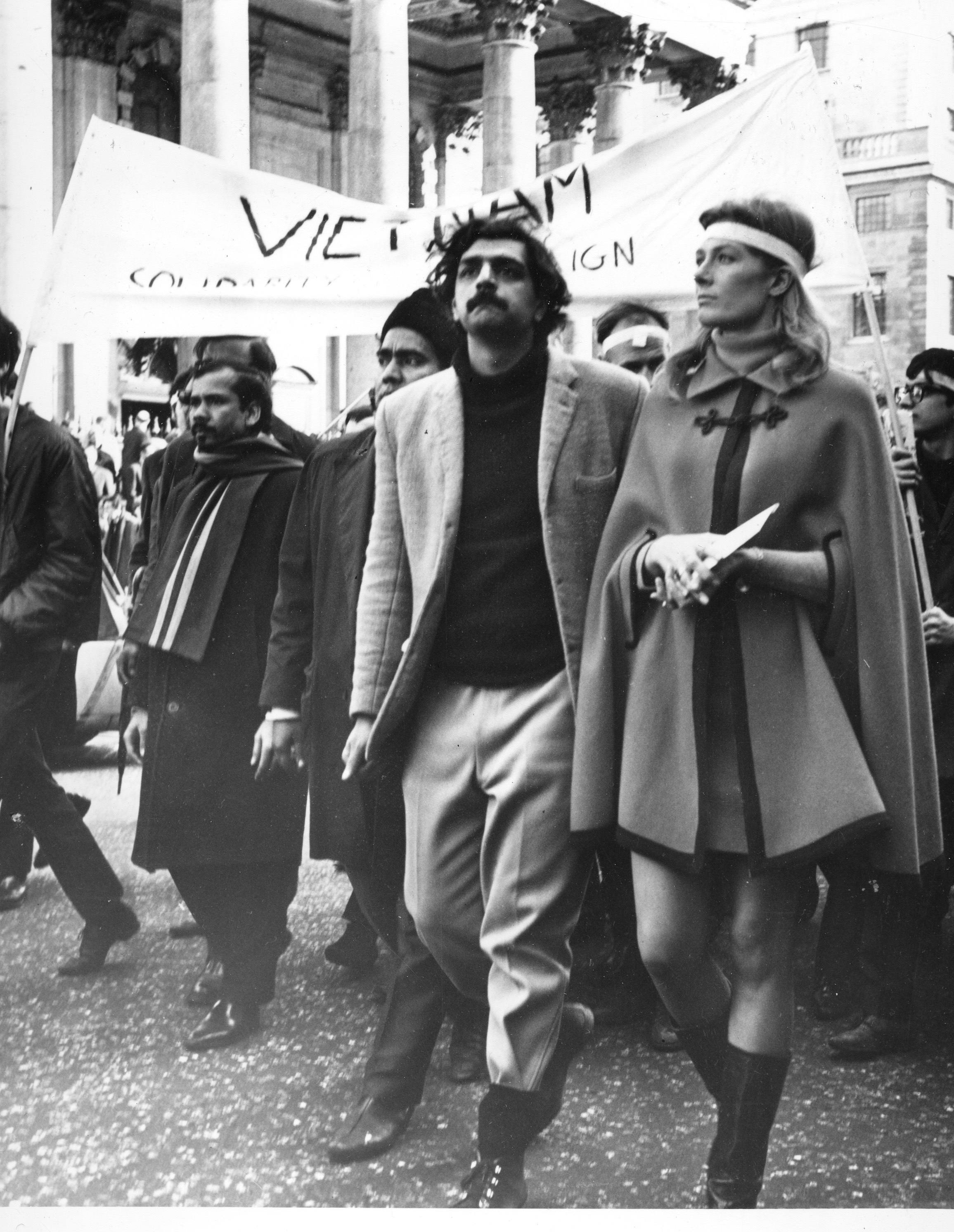 Actress Vanessa Redgrave, right, leads anti-Vietnam War demonstrators as they march towards the U.S. Embassy at Grosvenor Square after a massive rally in Trafalgar Square in London, England, on March 17, 1966. Redgrave holds a letter addressed to the U.S. Ambassador. The man next to her is Tariq Ali, a Pakistani citizen, who is chairman of the organizing committee for the protest. (AP Photo)