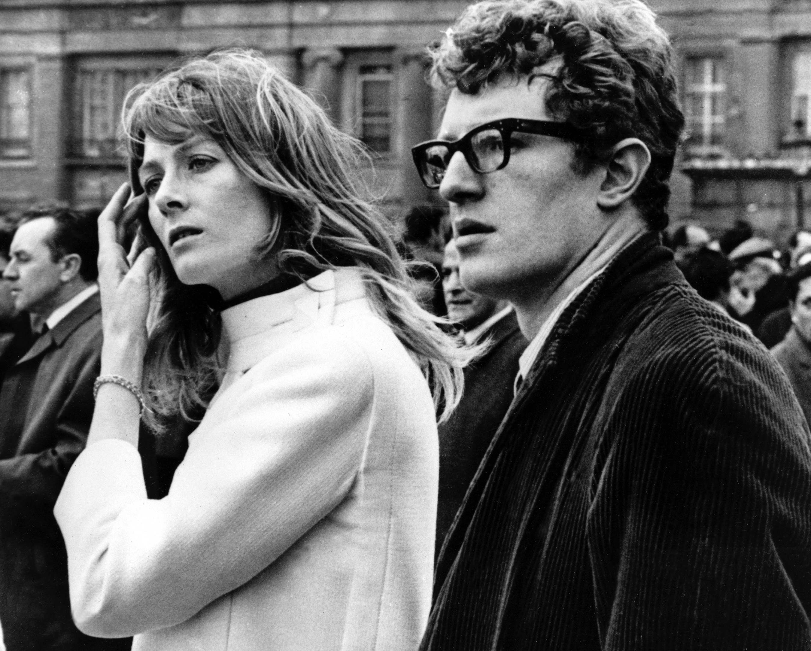 Actress Vanessa Redgrave and her brother Corin, right, are seen during an anti-Vietnam War rally held in Trafalgar Square in London, England, March 24, 1968. The rally is held by the Youth Campaign for Nuclear Disarmament. (AP Photo)