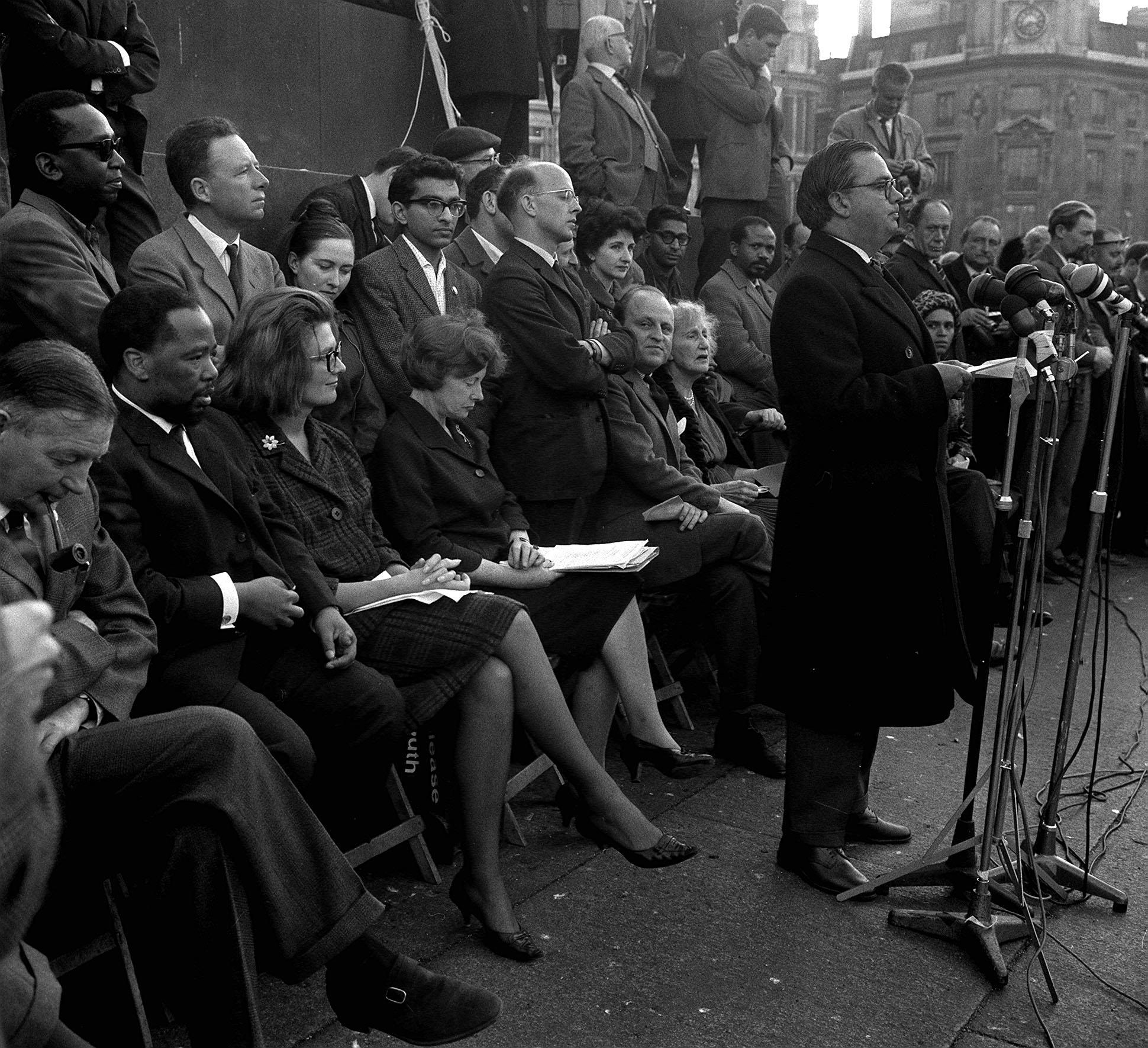 3/11/63  Woodrow Wyatt, Labour MP for Bosworth speaks from the plinth of Nelson's Column during the anti-apartheid movement meeting at Trafalgar Square following a march from Hyde Park.