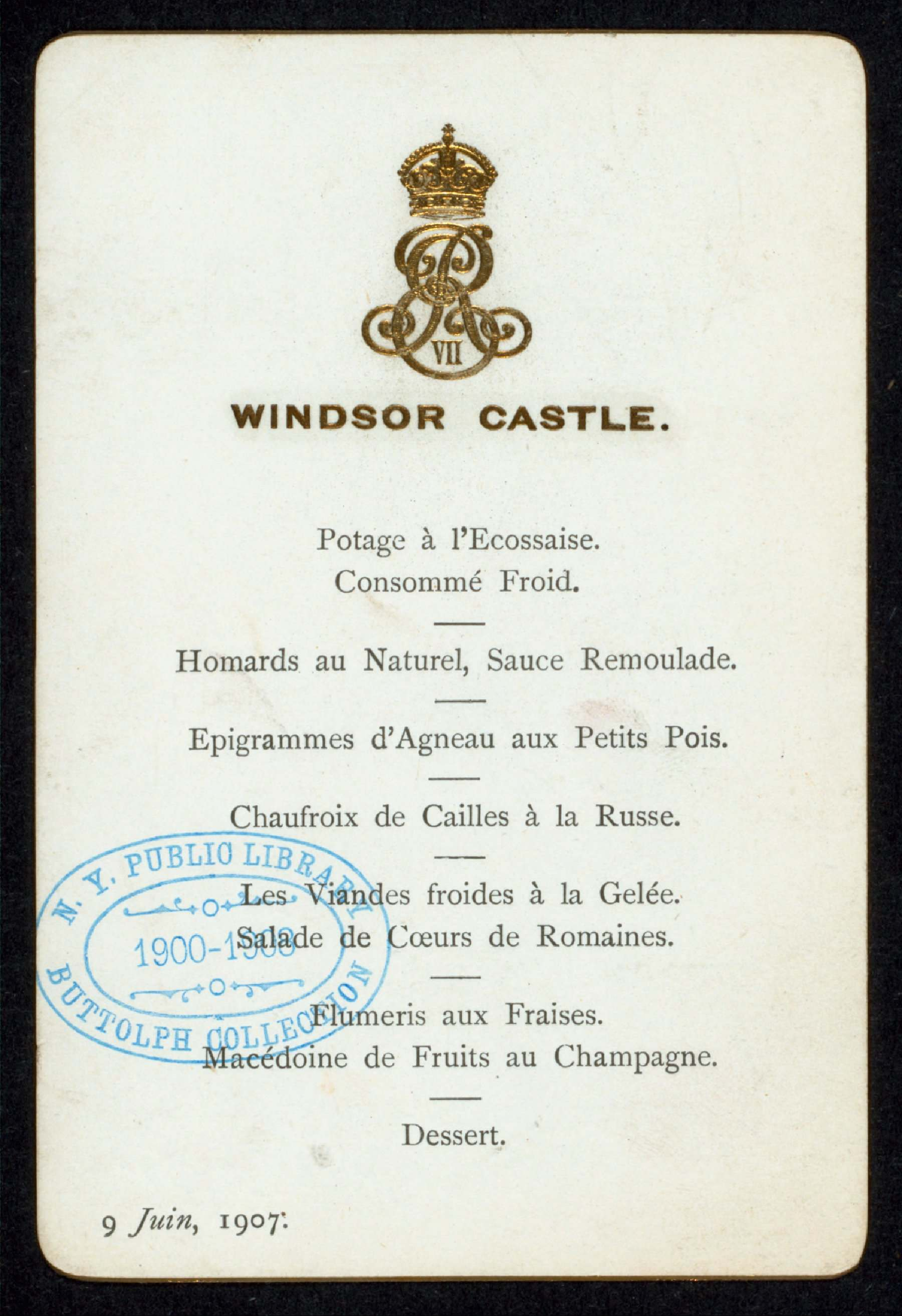 Menu for dinner at Windsor Castle with King Edward