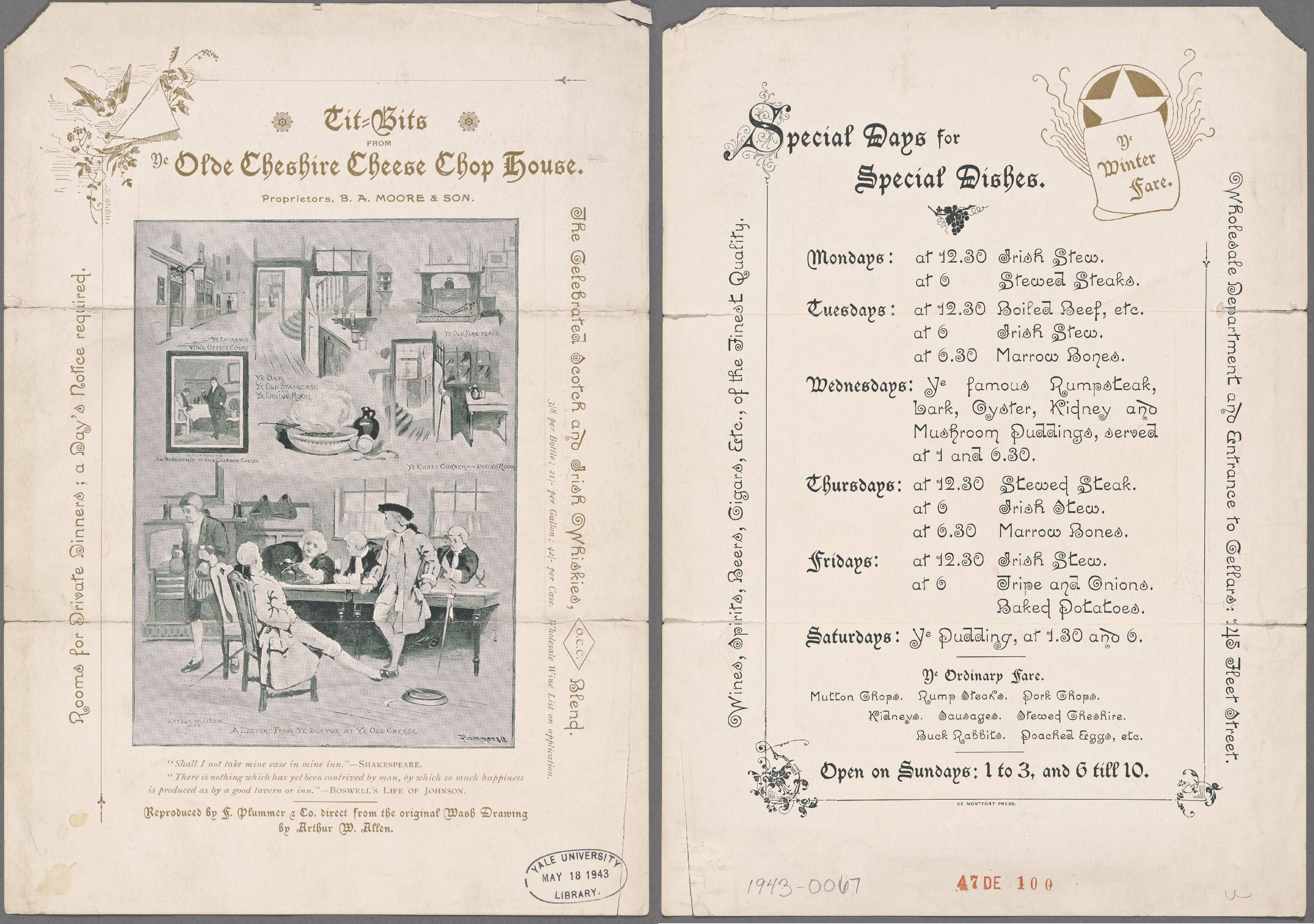 Menu from the Ye Olde Cheshire Cheese pub on Fleet Street, 1943.