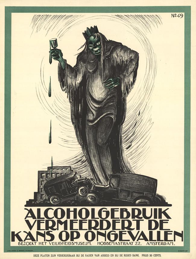 "1926, poster by Albert Hahn Alcohol increases the risk of accidents This is a belated follow-up to my April 2013 post Vintage Safety. I tried really hard not to include too many ""missing finger"" posters. [update: I swear to you that I wrote that fate-tempting sentence on Monday and then totally hurt my hand moving boxes the next day at work. I may never again look at this post.] ""Hoogspanning!"" means ""high voltage!"" (see poster below)."