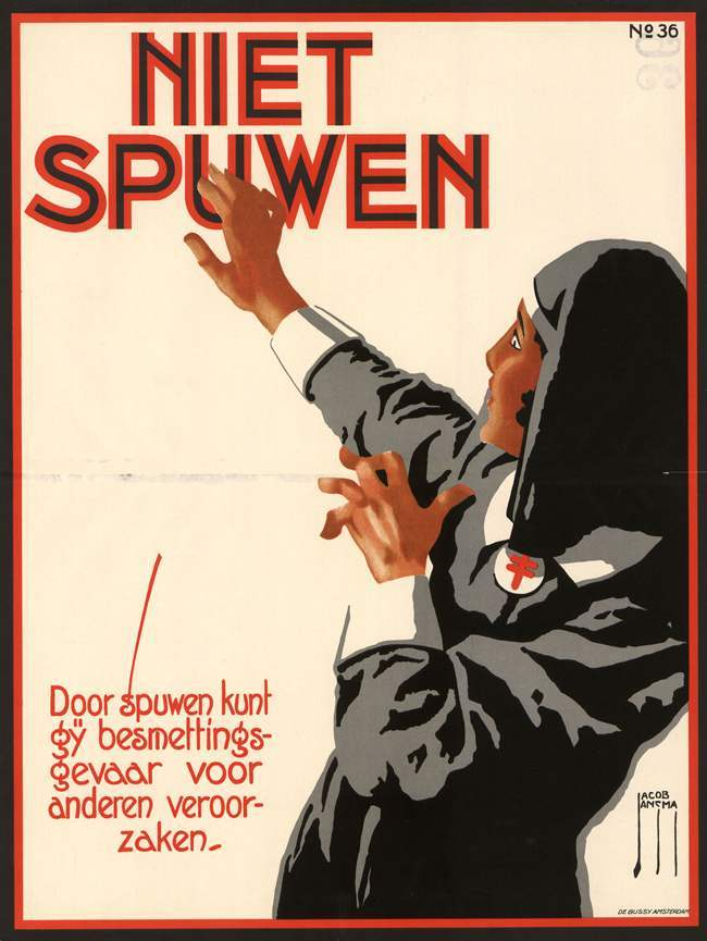 "1925, poster by Jacob Jansma Don't spit on the nuns* 2/28/2014 update: I figured this was not a nun, but liked the cheap joke. Adrian emailed to relate this message from his Dutch friend: ""The poster about spitting is quite interesting. In the first half of the 20th century lots of men chewed tobacco. And spitting was part of the chewing. It was unhygienic, I remember as a little boy the amounts of spit flying through the air! The nun is not a nun but a nurse in a twenties uniform. She is in the poster to indicate how unhygienic spitting is. Not a target!"" But really, please don't spit on the nuns."