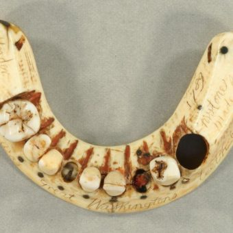 George Washington Hippopotamus Ivory And Gold Wire Sprung Teeth