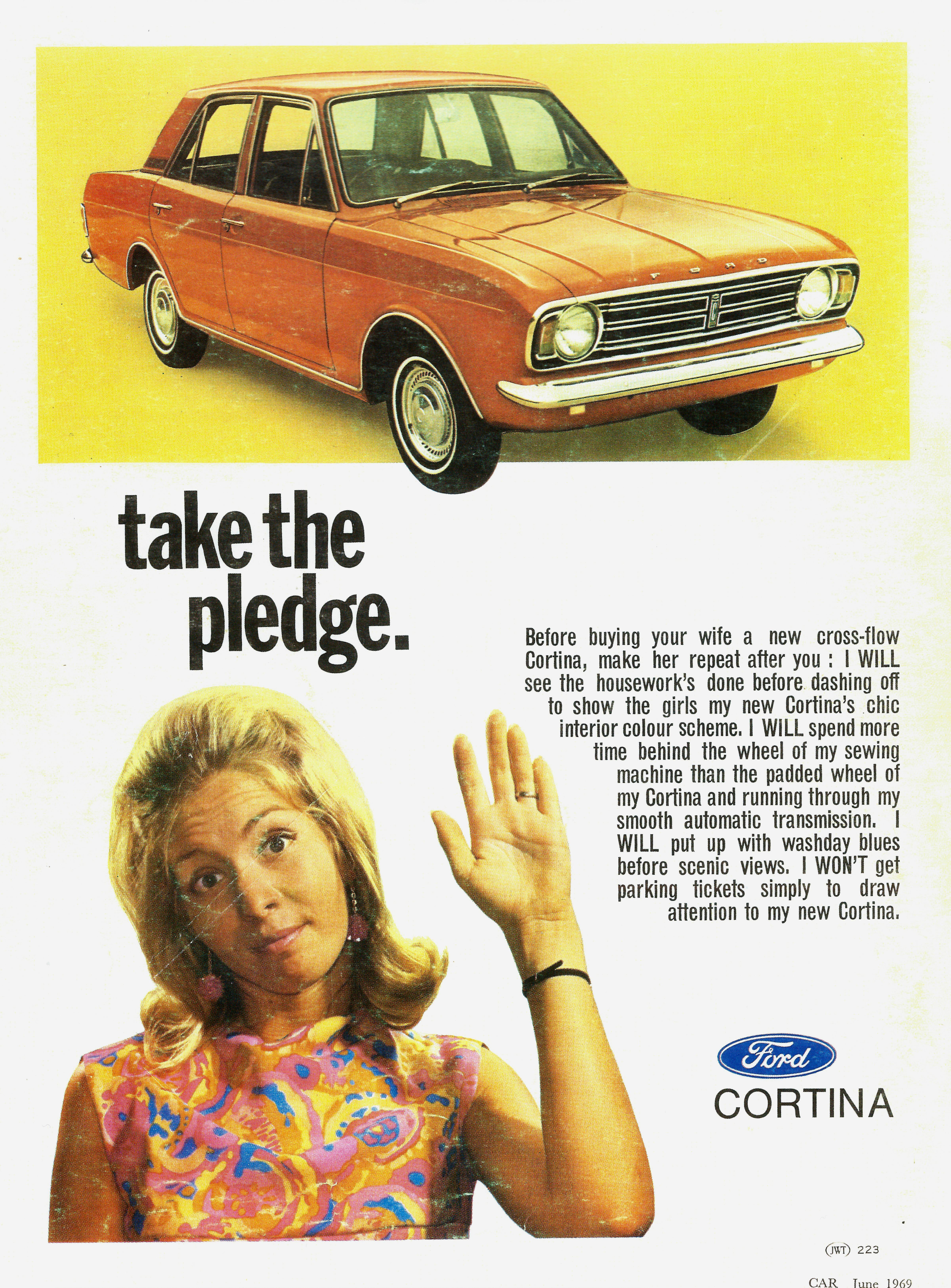 South African Ford Cortina ad. Not only were they racist but sexist too.