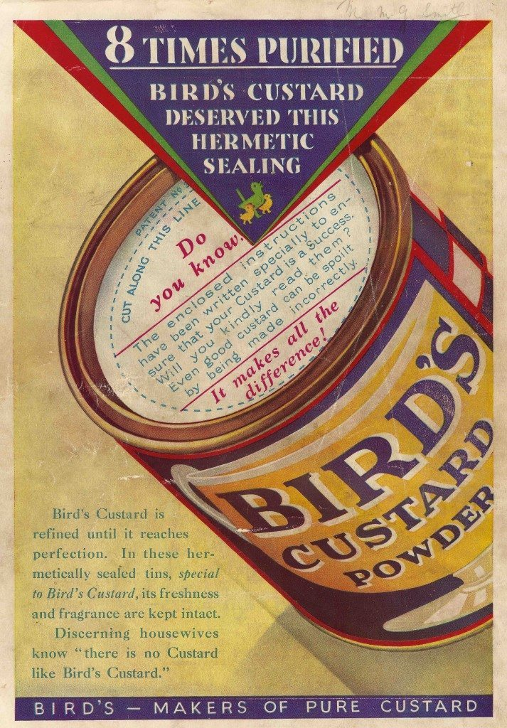 Bird's advert advertising thirties