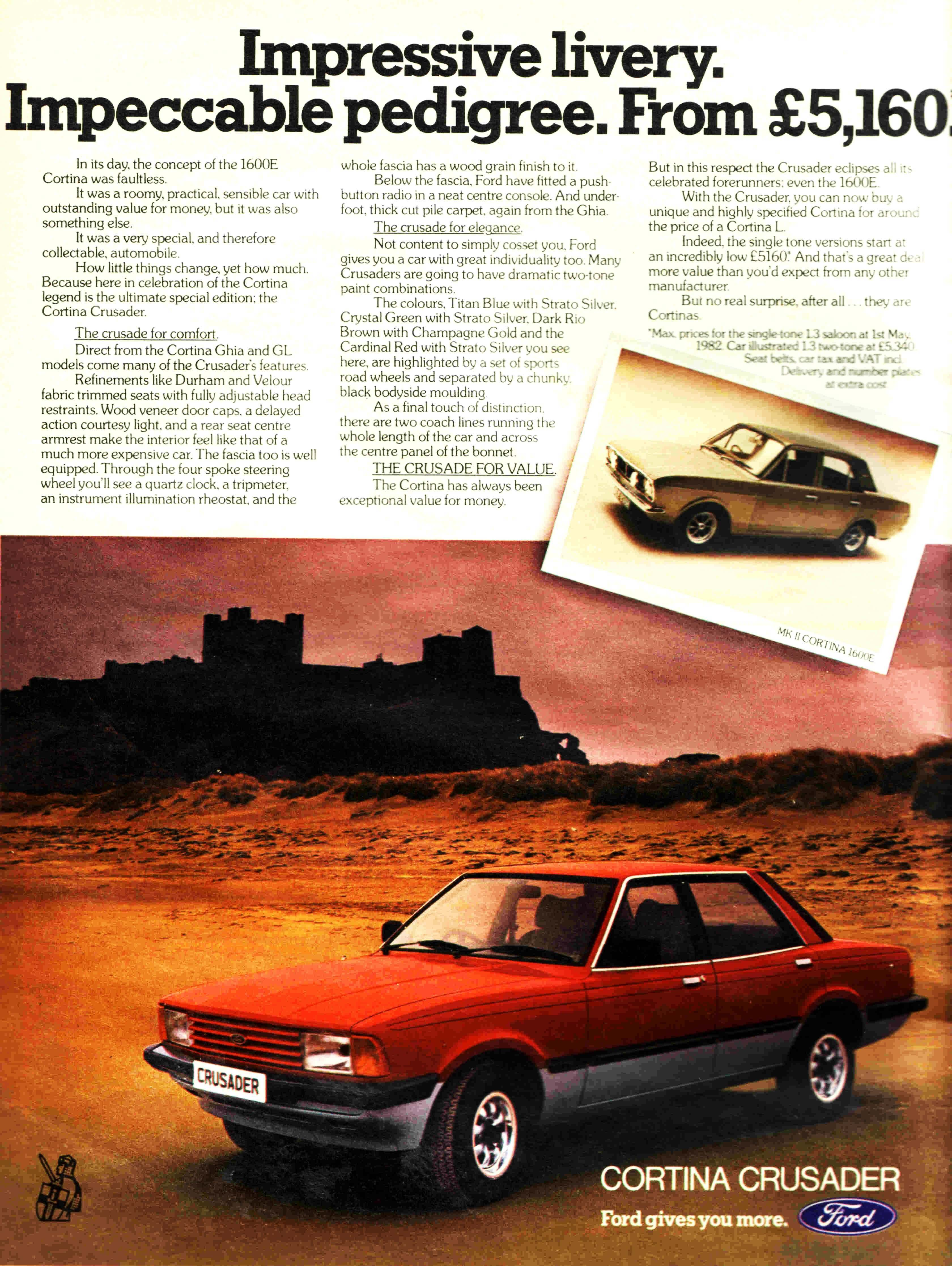 The Cortina Crusader advertised in the Radio Times in 1982. The last year of the Cortina.