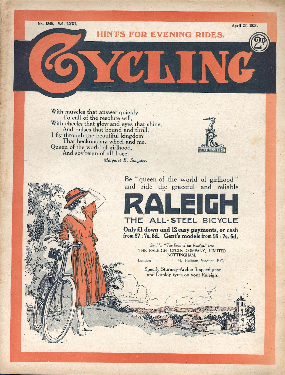 """Queen of the World of Girlhood"" - Raleigh ad on cover of Cycling magazine, 1926."