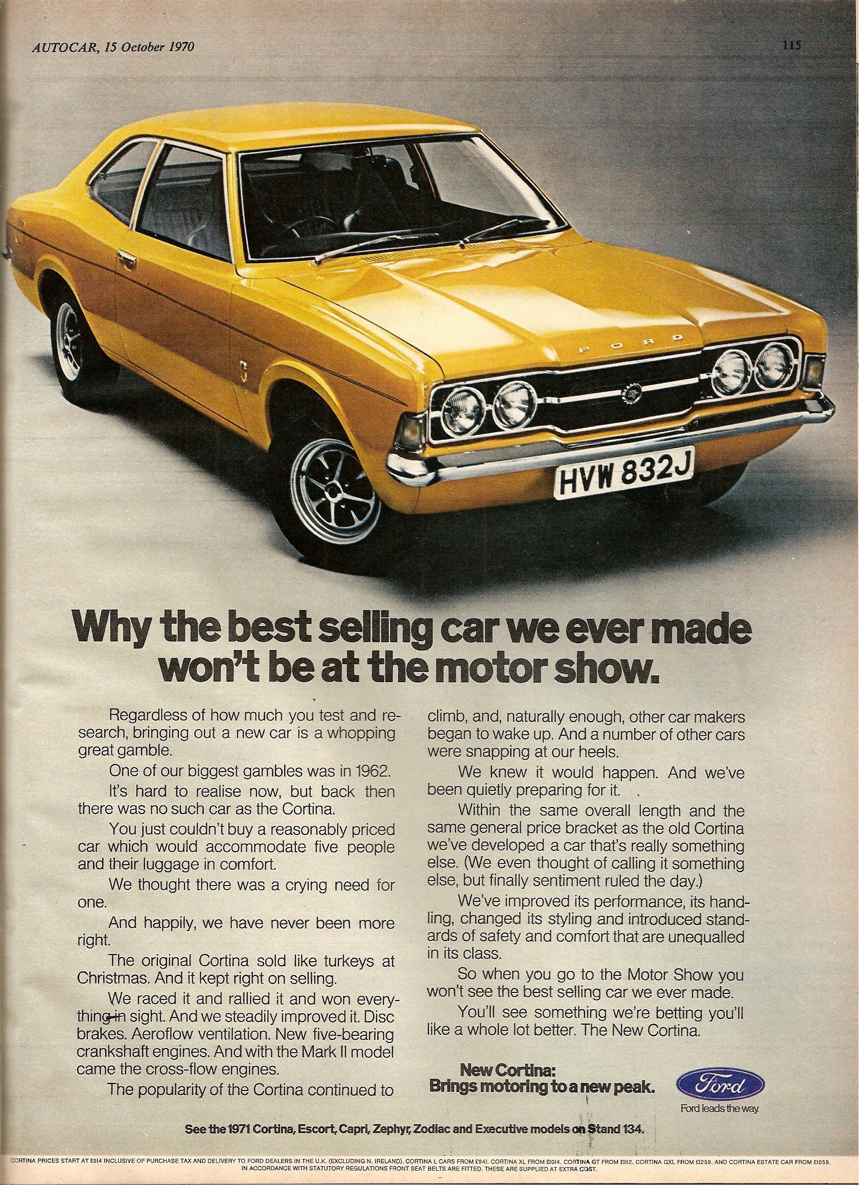 Ford Cortina Mk 3 advert from 1971.