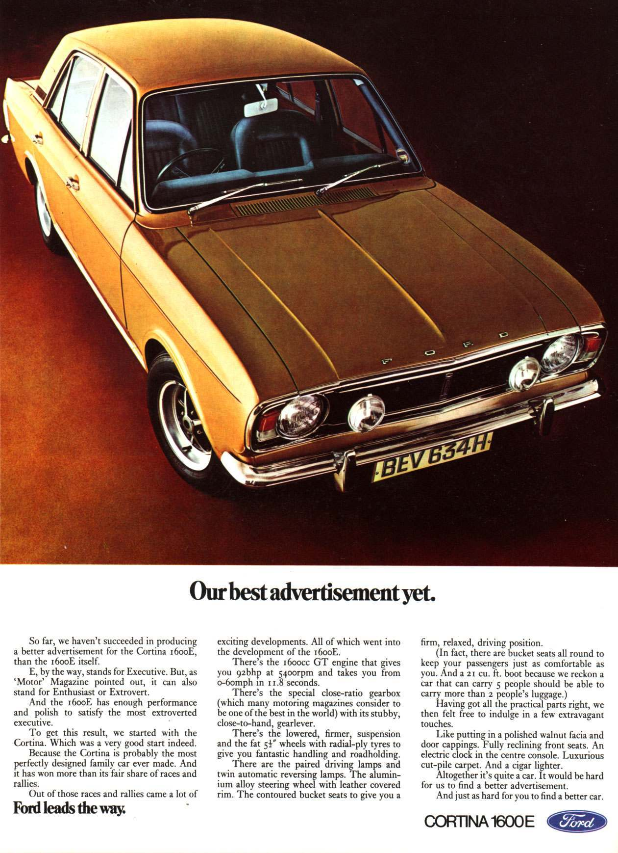Ford Cortina 1600E from 1969.