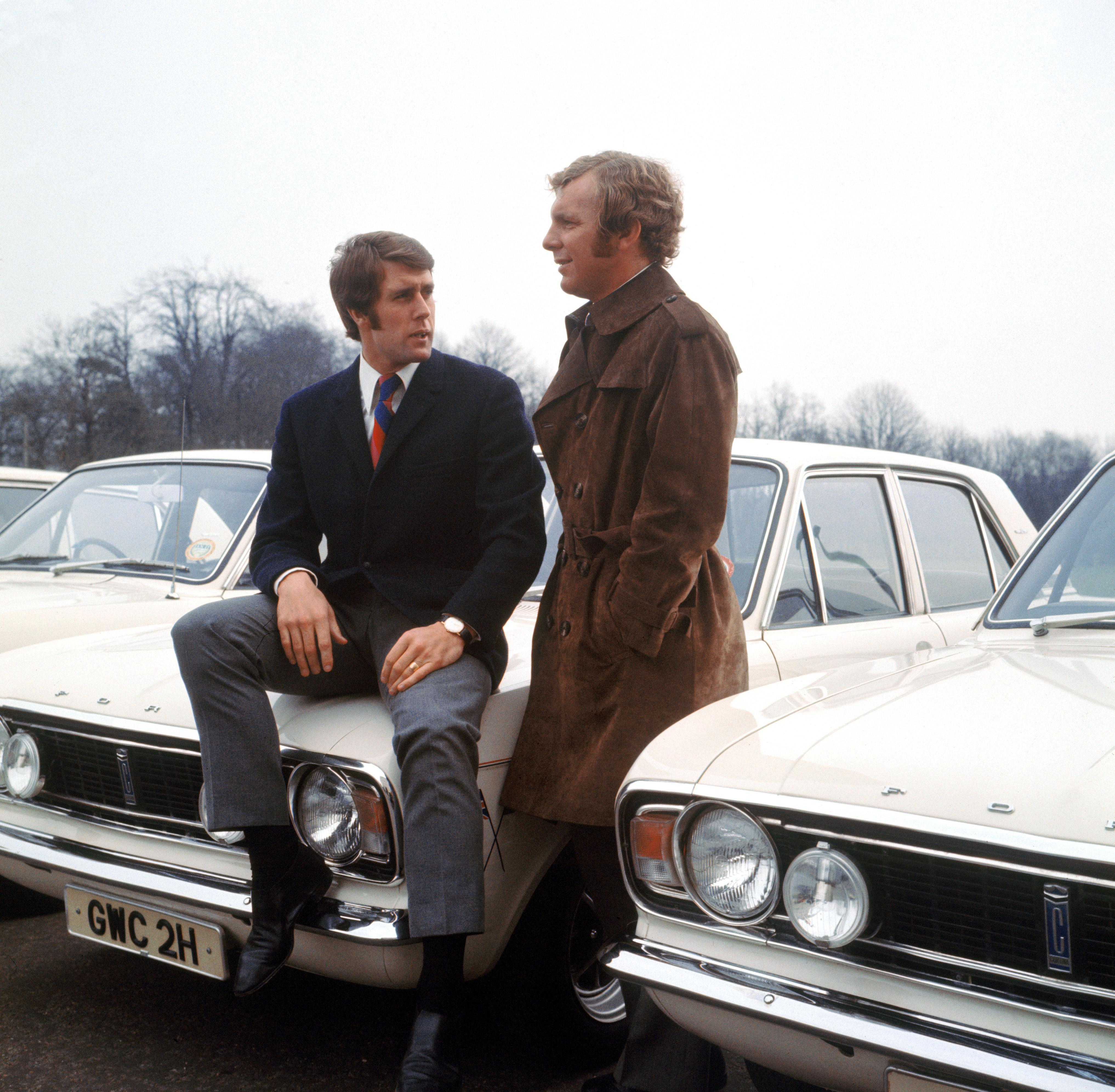 Two more England players (Geoff Hurst and Bobby Moore) ecstatic at the thought of a Ford Cortina for a year, 1970.