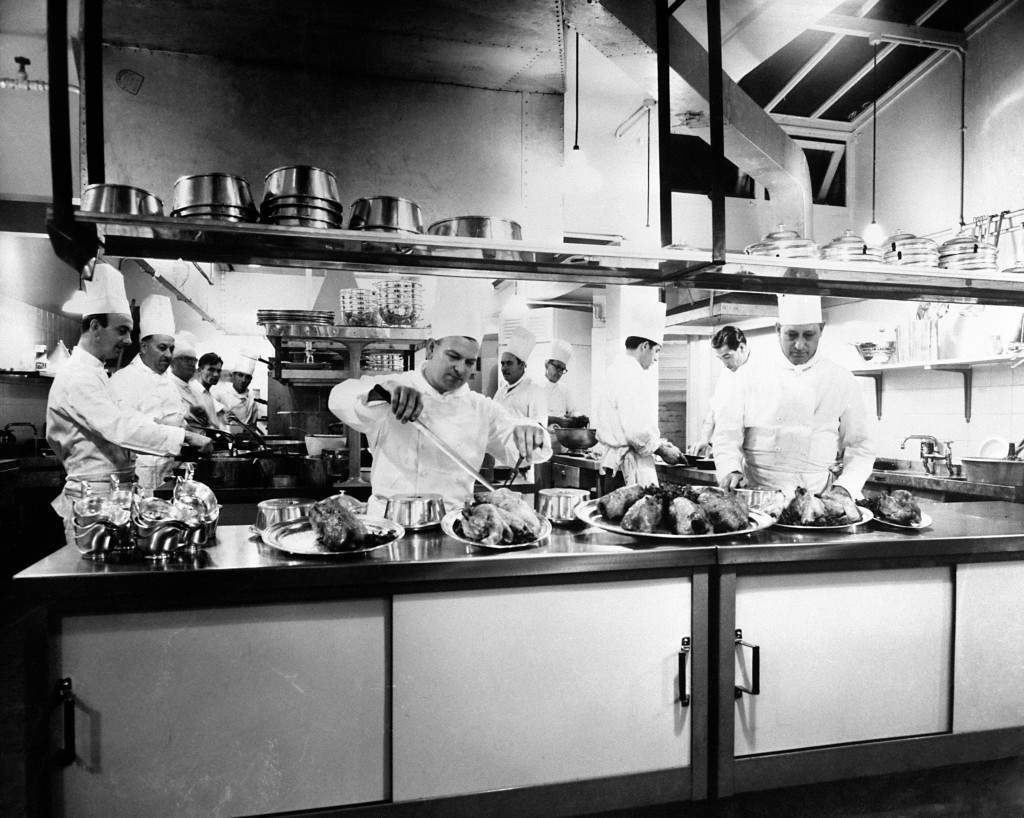 The new kitchens at the Talk of the Town had to cope with 800 covers, 1958. AP