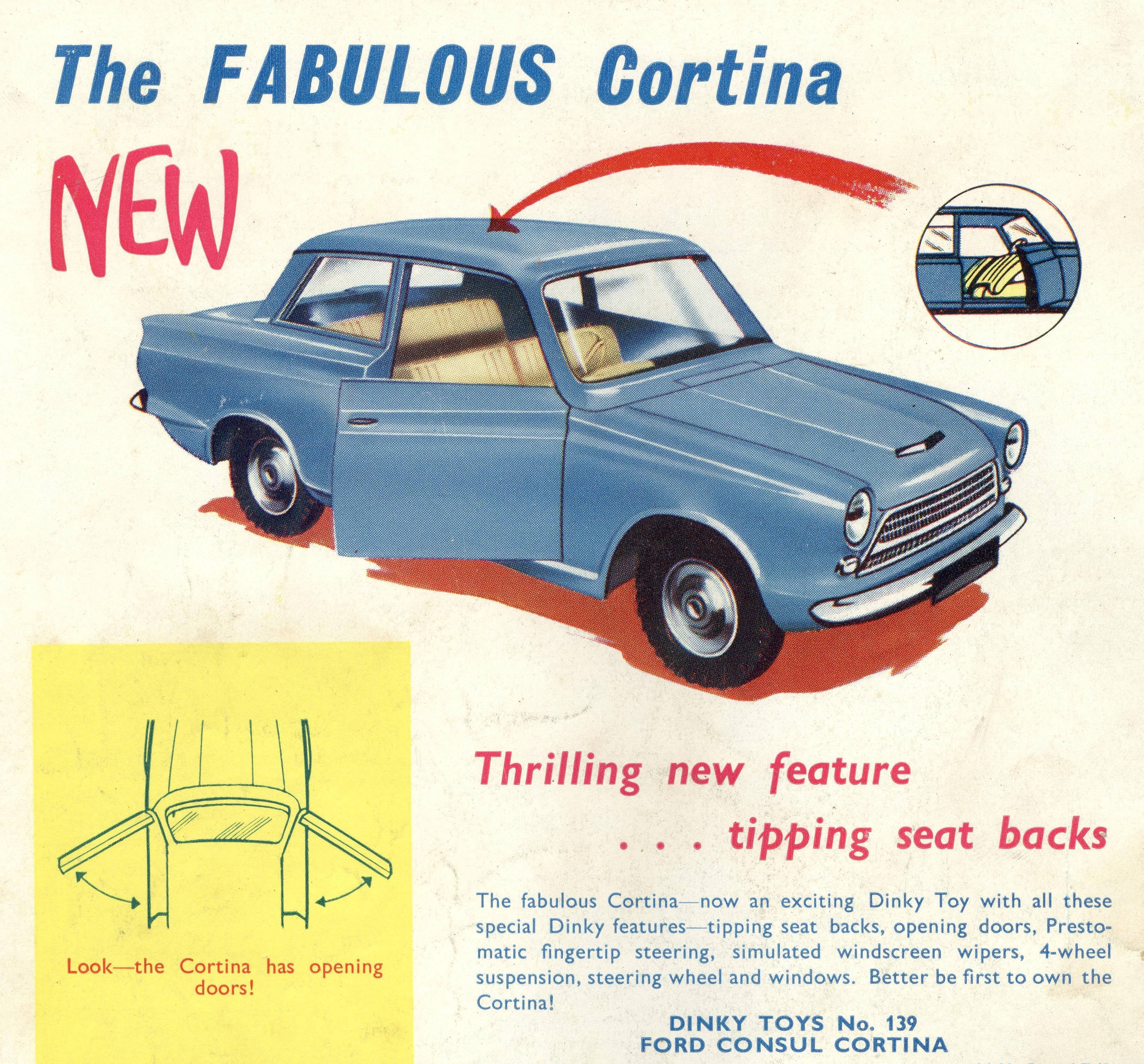 An ad for the Ford Consul Cortina Dinky car from 1963.