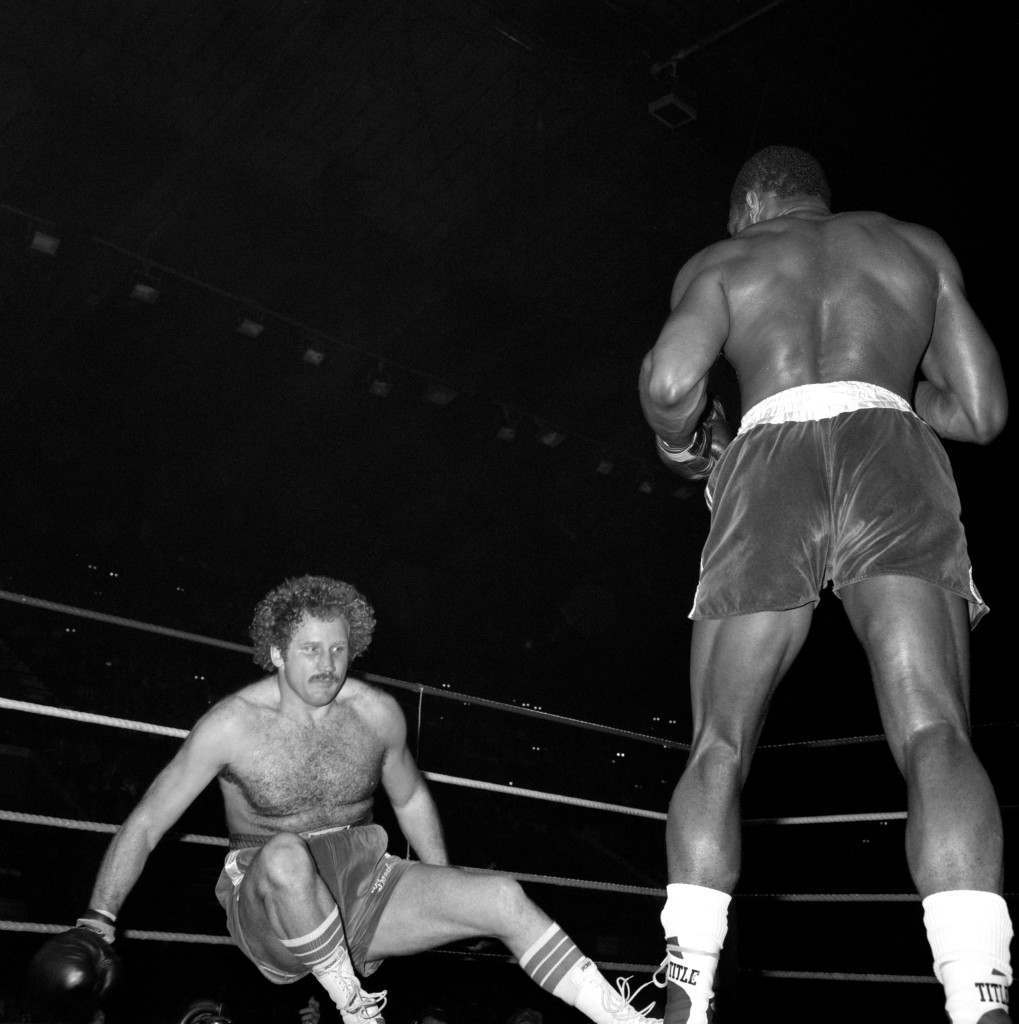 Great Britain's Frank Bruno putts American Scott LeDoux on the canvas during the fight. Frank Bruno went on to win the fight by way of Technical Knock Out in the 3rd round. Ref #: PA.11384128  Date: 03/05/1983