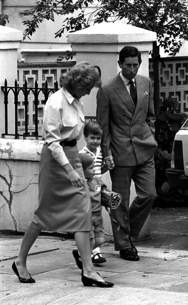 The Prince and Princess of Wales and big brother Prince William lead three-year-old Prince Harry to Chepstow Villas in London's Notting Hill, for his first day at kindergarten. Ref #: PA.1183640  Date: 16/09/1987