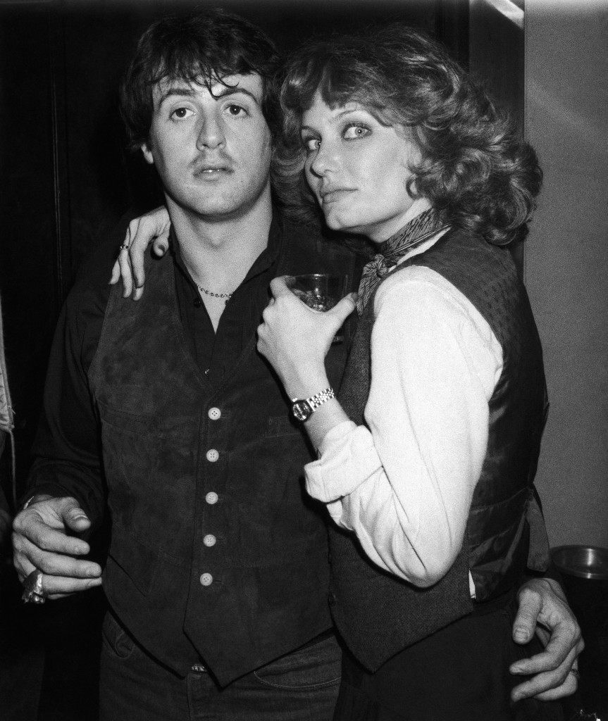 "American actors Sylvester Stallone and actress Joyce Ingalls pose for the camera at New York's, United States, Studio 54 disco on Saturday, Feb. 18, 1978. Miss Ingalls co-stars with Stallone in Sly's new film ""Paradise Alley."" (AP Photo) Ref #: PA.11933140 Date: 18/02/1978"