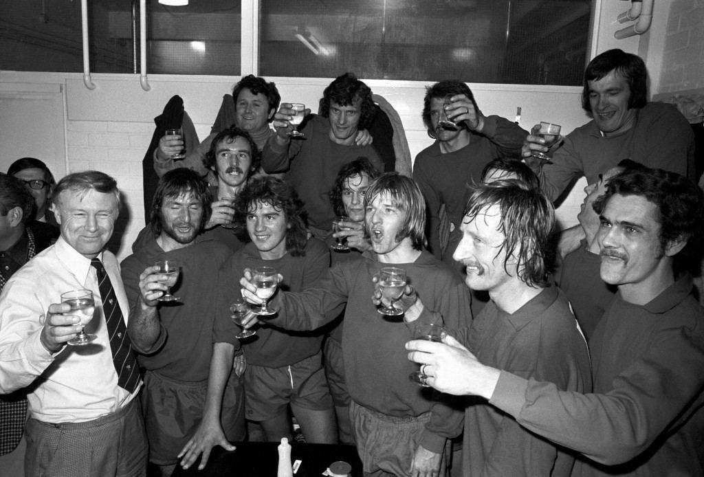 Soccer - FA Cup - First Round Replay - Brighton and Hove Albion v Walton and Hersham - Goldstone Ground Amateur cup holders Walton and Hersham celebrate in their dressing room after beating Brighton and Hove Albion in their Round One FA Cup Replay Ref #: PA.13098102  Date: 28/11/1973