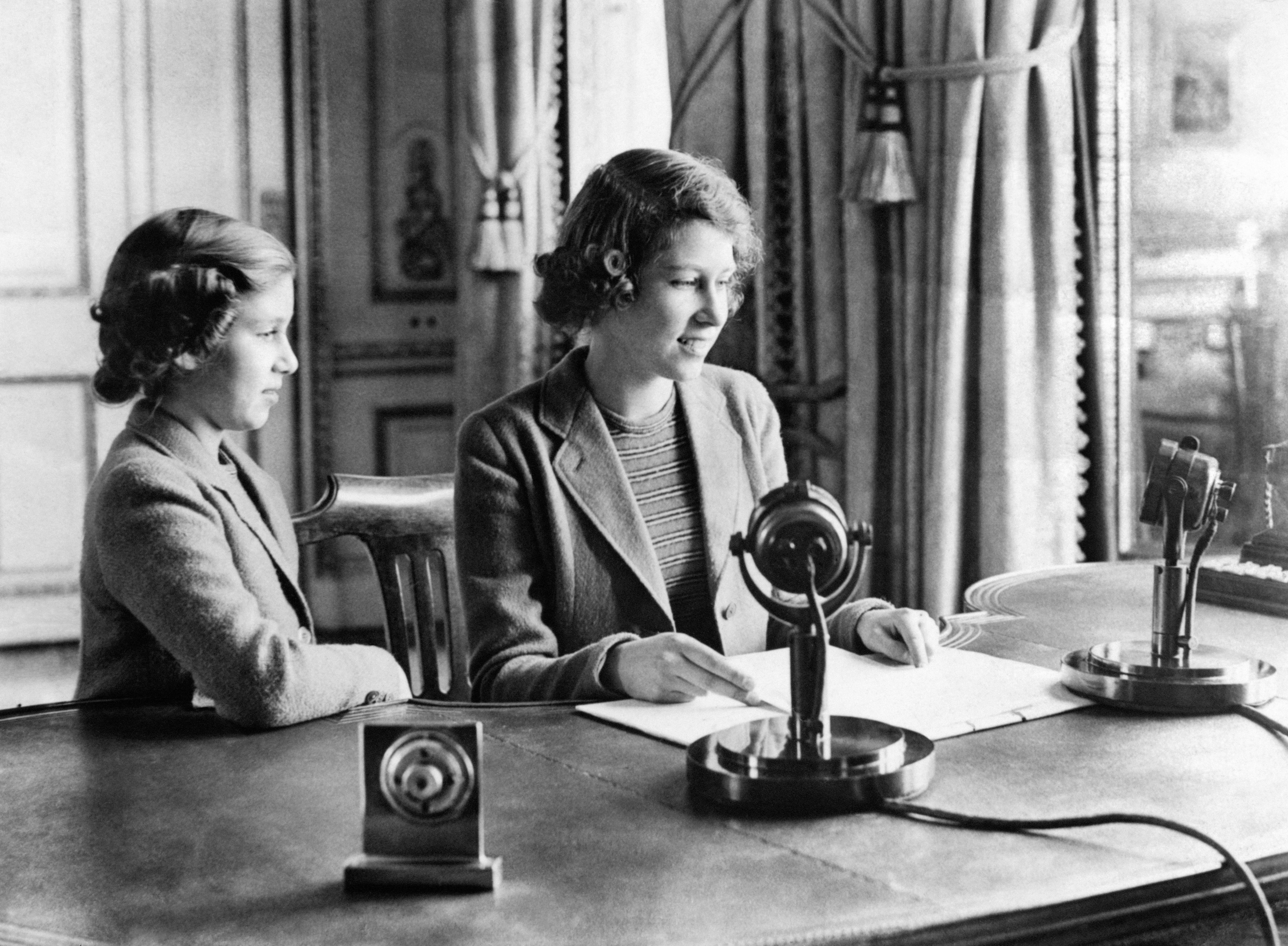 "A wartime picture of Princess Elizabeth (right) and Princess Margaret after they broadcast on ""Children's Hour"" from Buckingham Palace. 01/11/1940"