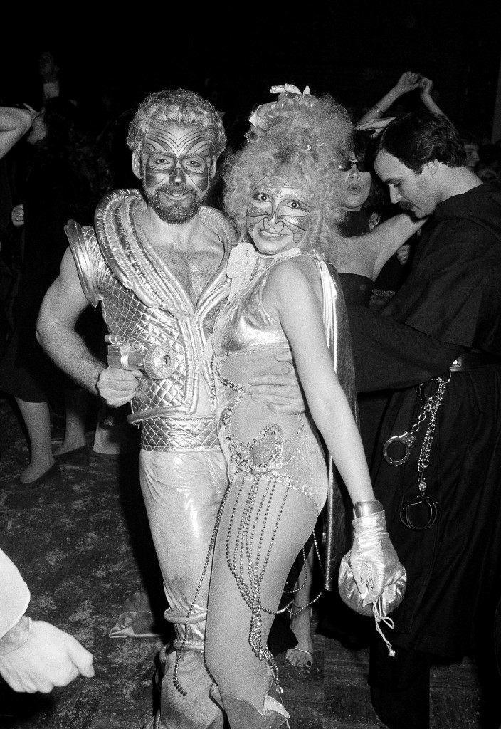 Halloween revelers at New York's Studio 54 dance the night away in costumes ranging from burlesque to stellar. The party was held at the New York Discoteque Oct. 31, 1977. (AP Photo/Richard Drew) Ref #: PA.14913476 Date: 31/10/1977
