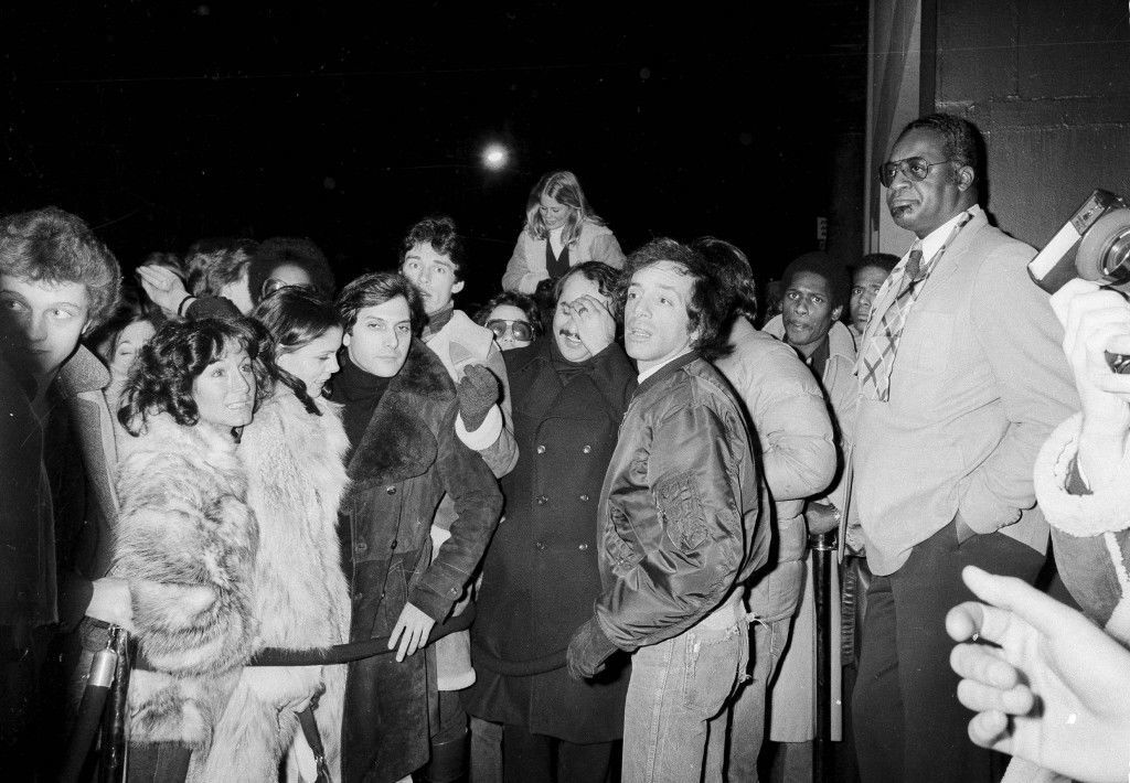 Steve Rubell, (foreground, in short satin jacket) co-owner of Studio 54, is shown overseeing the crowds of hopefuls standing on the outside of the velvet rope, waiting to be allowed entry to dance at the disco club, Nov. 11, 1979. (AP Photo/Richard Drew) Ref #: PA.17555432 Date: 11/11/1979