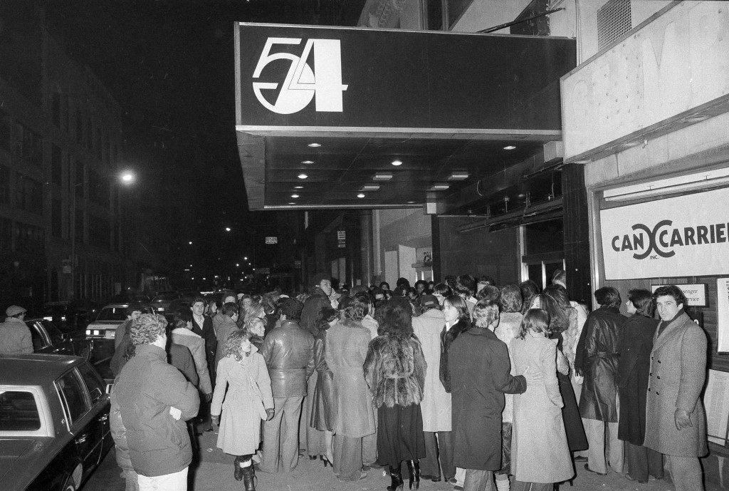 Crowds linger outside the entrance to Studio 54 in New York, Nov. 6, 1979. (AP Photo/Richard Drew) Ref #: PA.17555473 Date: 06/11/1979