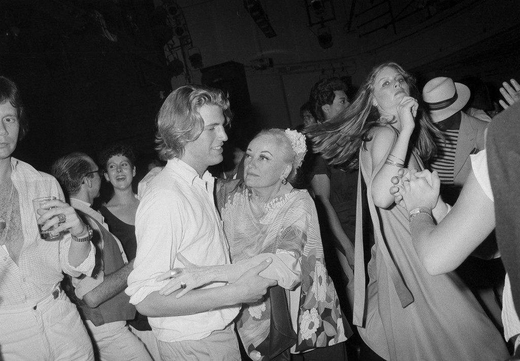 Veteran comedian Phyllis Diller hits the dance floor with unidentified friend at Studio 54 in New York, June 11, 1978. (AP Photo) Ref #: PA.17590655 Date: 11/06/1978