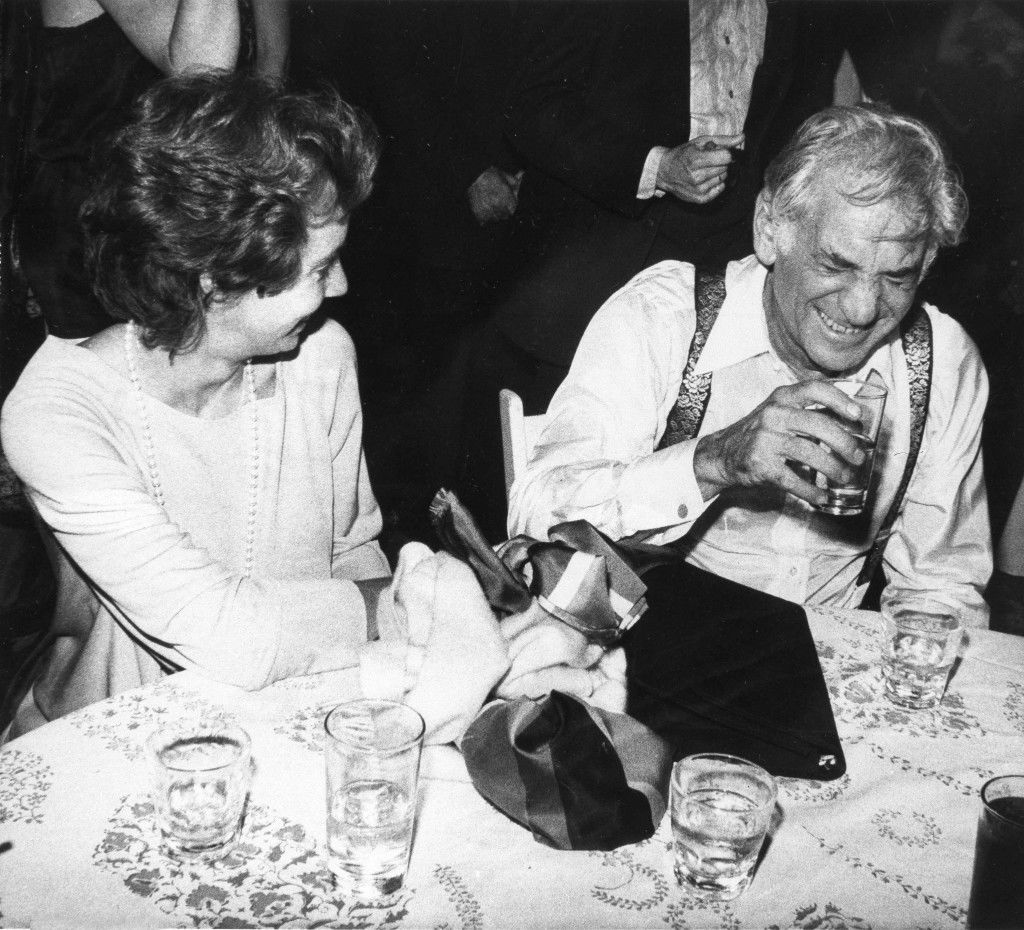 Leonard Bernstein has a laugh with his daughter Jamie as they rest and have some refreshments after a dance at the Studio 54 disco in New York, Nov. 15, 1977. (AP Photo) Ref #: PA.17643683 Date: 15/11/1977