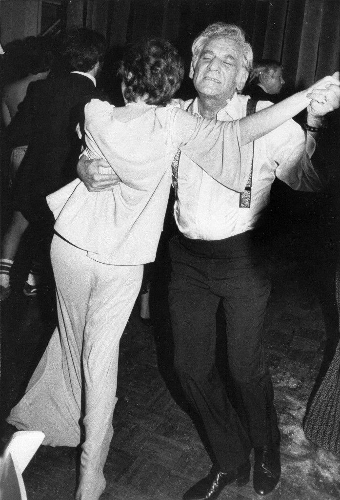 "Conductor Leonard Bernstein takes to the dance floor with his daughter Jamie at a party at Studio 54 in New York, Nov. 15, 1977. The party followed the premiere of the new movie ""The Turning Point"" starring Shirley MacLaine and Anne Bancroft. (AP Photo) Ref #: PA.17643693 Date: 15/11/1977"