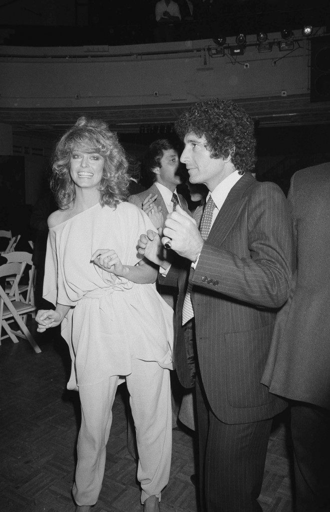 Farrah Fawcett-Majors dances with Richard Barrie, president of Faberge, during the Faberge party at Studio 54 in New York, Feb. 6, 1978. (AP Photo) Ref #: PA.17643695 Date: 06/02/1978