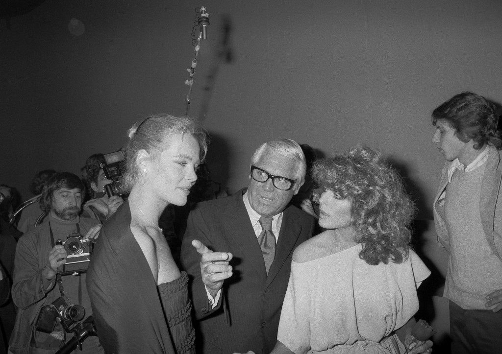 Margaux Hemingway, Cary Grant and Farrah Fawcett-Majors are pictured at the Faberge bash at Studio 54 in New York, Feb. 6, 1978. (AP Photo) Ref #: PA.17643696 Date: 06/02/1978
