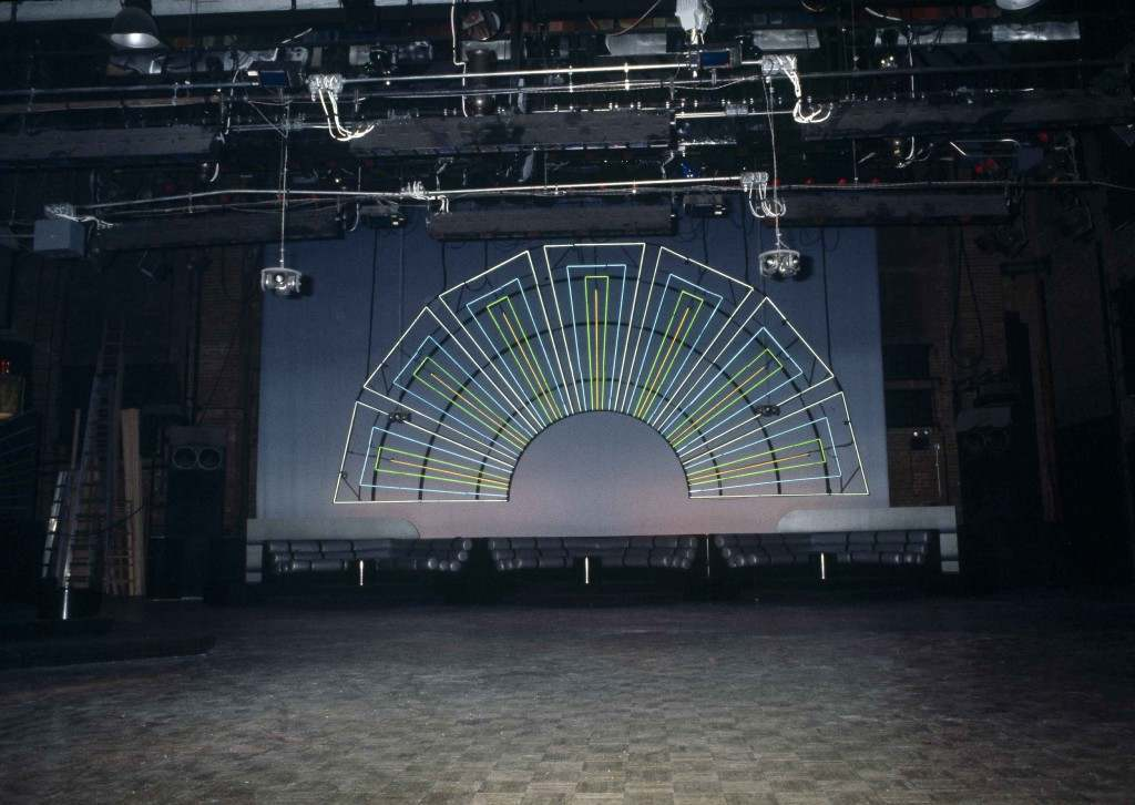 Neon decoration in front of an empty dance floor at New York's Studio 54 disco, shown 1978. (AP Photo) Ref #: PA.17645279 Date: 01/01/1978