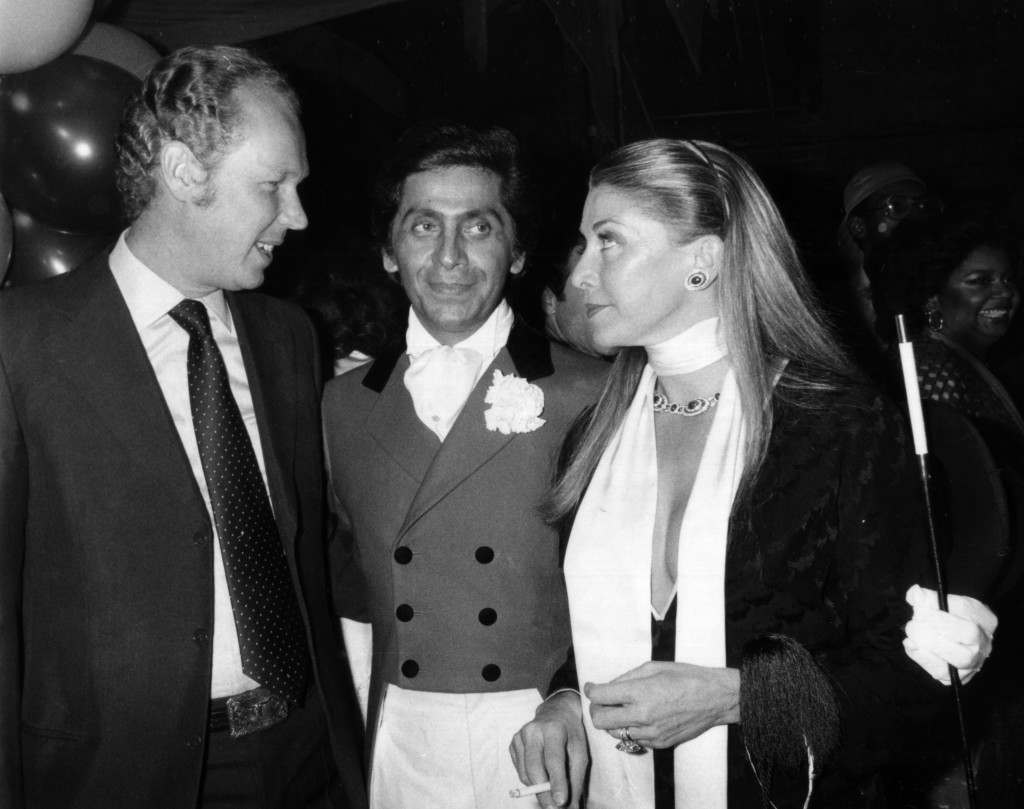 Prince Vittorio Emanuele, left, son of Italy's exiled King Umberto and his wife, Princess Marina Doria, stop to wish a happy birthday to Roman fashion designer Valentino at a costume party for the designer at New York's Studio 54, May 11, 1978. (AP Photo) Ref #: PA.17654483 Date: 11/05/1978
