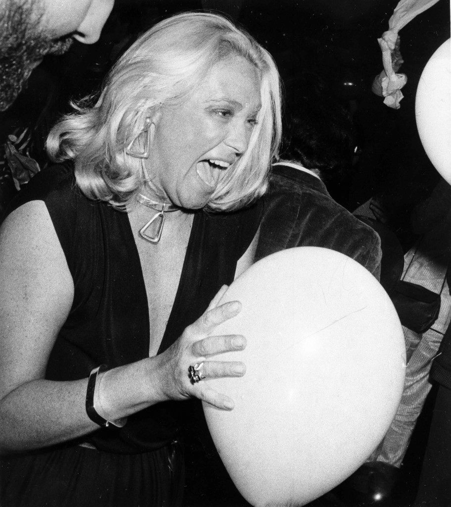 Joan Kennedy, wife of Massachusetts Democratic Senator Edward Kennedy, shrieks with delight as she grabs a floating balloon during the Yankees victory party at Studio 54, Oct. 19, 1978. This was her first visit to the disco. (AP Photo) Ref #: PA.17654485 Date: 19/10/1978