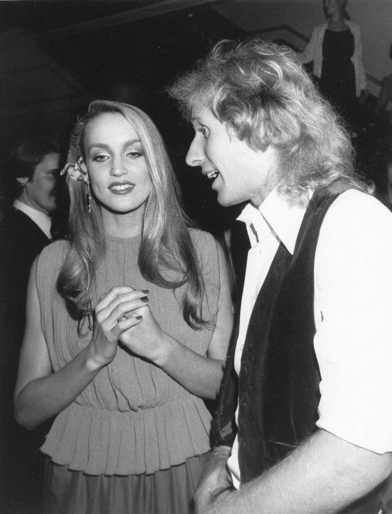 New York tennis star Vitas Gerulaitis chats with Jerry Hal, fashion model and girlfriend of Mick Jagger,l at Studio 54, famed New York disco, Feb. 14, 1978. (AP Photo) Ref #: PA.17654489 Date: 14/02/1978