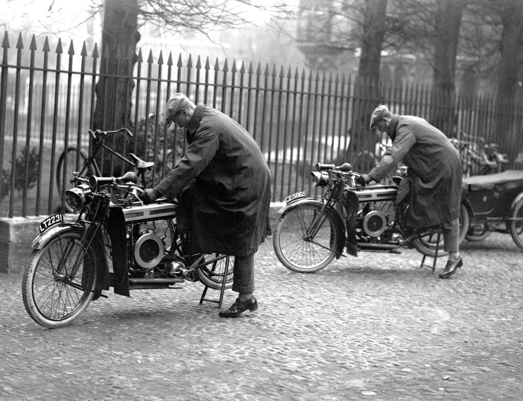 The two Royal Princes, Prince Albert, foreground, and Prince Henry, at Cambridge University use motorcyles to go to lectures. Ref #: PA.17796547  Date: 13/02/1920