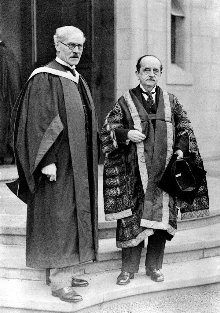 Sir James Barrie (R), as Chancellor of Edinburgh University, welcomed the Prime Minister to Edinburgh when he opened two new buildings. Pictured are Sir James Barrie with Mr Ramsay Macdonald at Edinburgh University ater the ceremony. Ref #: PA.2107620  Date: 29/01/1932