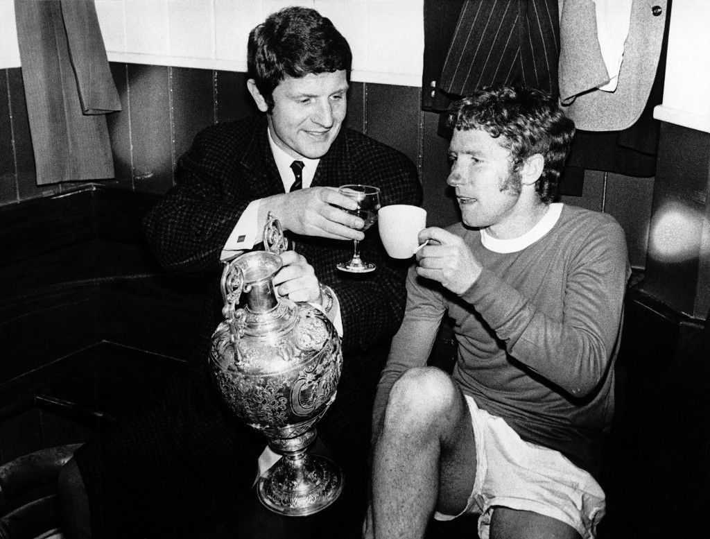 Soccer - Football League Division One - Everton v West Bromwich Albion Everton's Brian Labone (left) and Alan Ball (right) toast their Football League Championship victory, as Labone keeps hold of the trophy Ref #: PA.309223  Date: 01/04/1970