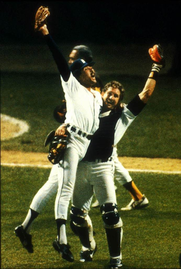 etroit Tigers pitcher Willie Hernandez and catcher Lance Parrish celebrate after beating the San Diego Padres to win the World Series in Detroit, in this Oct. 14, 1984 file photo. (AP Photo/Ron Heflin) Ref #: PA.4041203