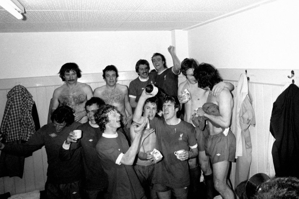 Liverpool celebrate winning the League Championship after their 3-1 victory: (clockwise from top l) Tommy Smith, Ian Callaghan, Steve Heighway, Phil Thompson, Jimmy Case, Kevin Keegan, Emlyn Hughes, Phil Neal, David Fairclough, Ray Kennedy, Ray Clemence NULL Ref #: PA.409136  Date: 04/05/1976
