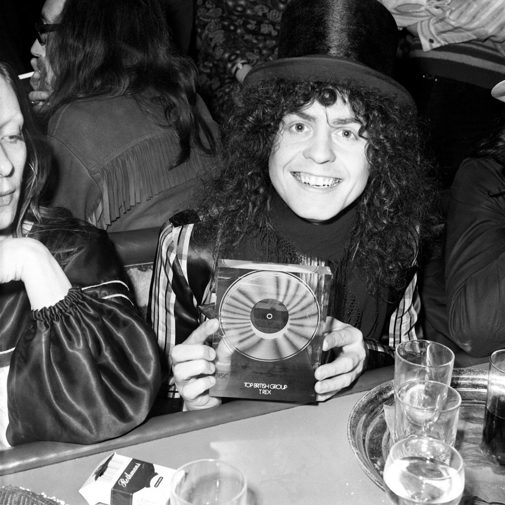 Rock star, Marc Bolan of T-Rex, with his award for Top British Group of 1971